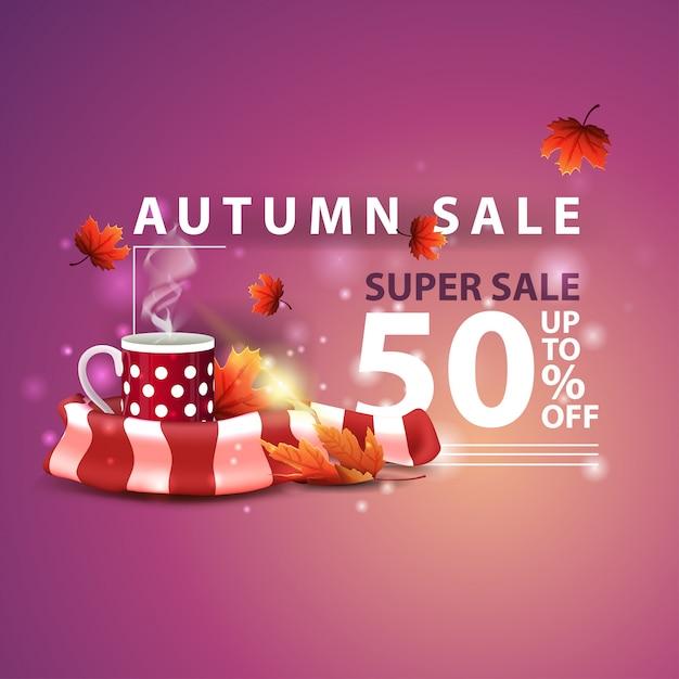 Venda de outono, dois banners de desconto horizontal na forma de uma fita com caneca Vetor Premium