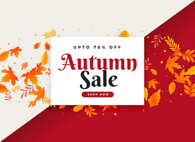 Venda de outono e banner promocional com folhas Vetor grátis