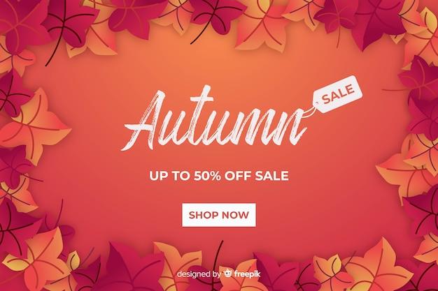 Venda de outono vermelha em design plano Vetor grátis