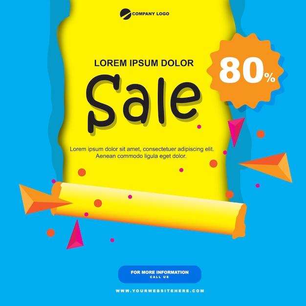 Venda de papel banner liso azul e amarelo Vetor Premium