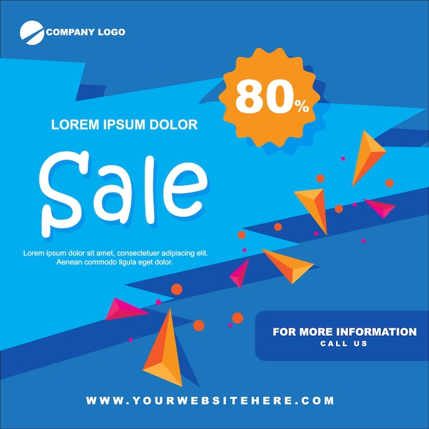 Venda de papel banner liso azul Vetor Premium
