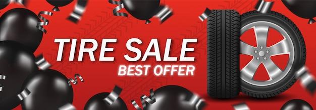 Venda de pneus com roda de carro e balões pretos e confetes no cartão de cartaz de fundo vermelho Vetor Premium