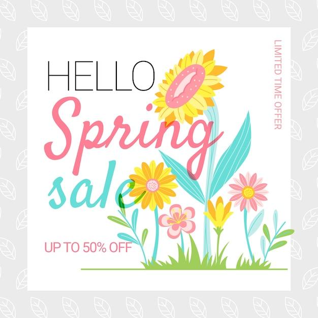 Venda de primavera design plano com girassóis ao ar livre Vetor grátis
