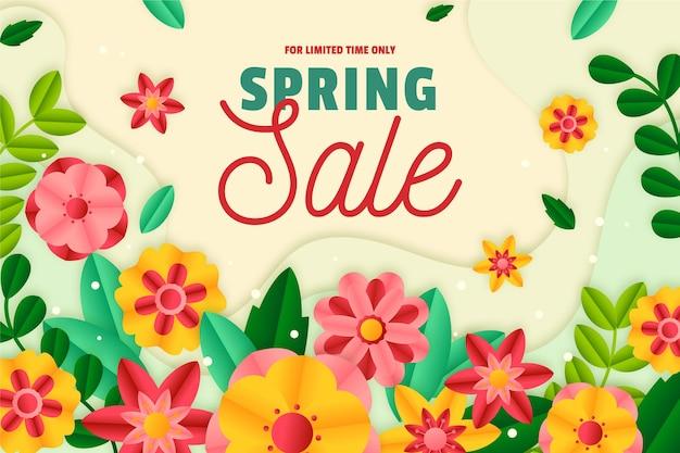 Venda de primavera realista em estilo de fundo de papel Vetor Premium