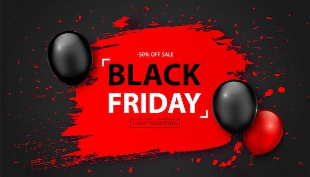 Venda de sexta-feira negra. banner de desconto com balões Vetor Premium