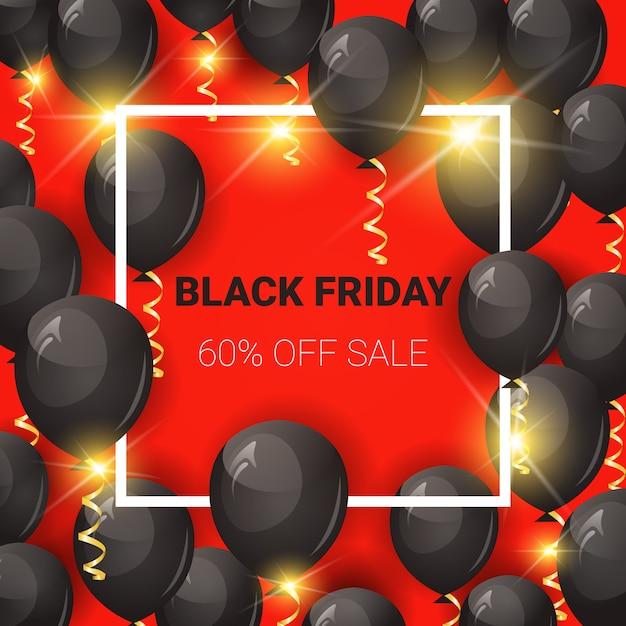 Venda de sexta-feira negra banner quadrado com balões de ar Vetor Premium