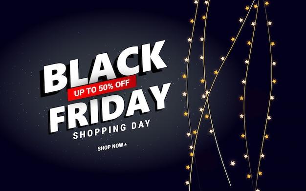 Venda de sexta-feira negra criativa com confetes estrelas para cartaz, banners, folhetos, cartão. Vetor Premium