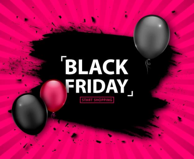 Venda de sexta-feira negra. desconto banner grunge com balões Vetor Premium