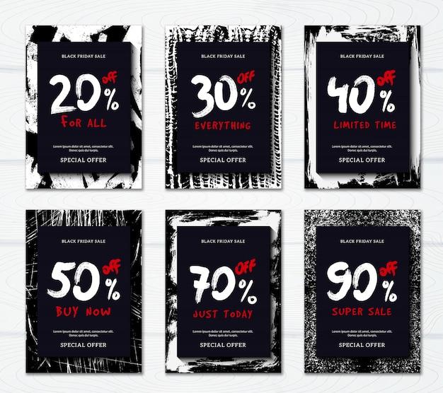 Venda de sexta-feira preta com grandes descontos banner promocional vertical ou conjunto de cartaz Vetor grátis
