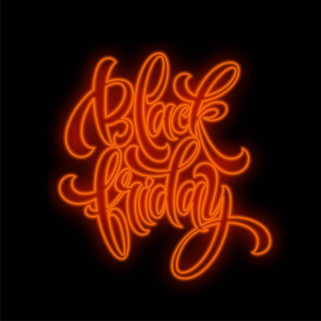 Venda de sexta-feira preta letras de luz luminosa em fundo escuro. efeito de brilho. Vetor Premium
