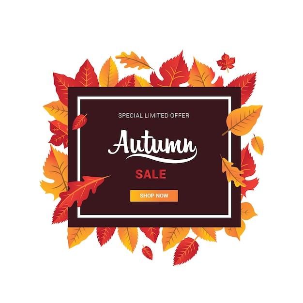 Venda de temporada de banner de outono com folha em formato de quadrado vermelho e laranja Vetor Premium