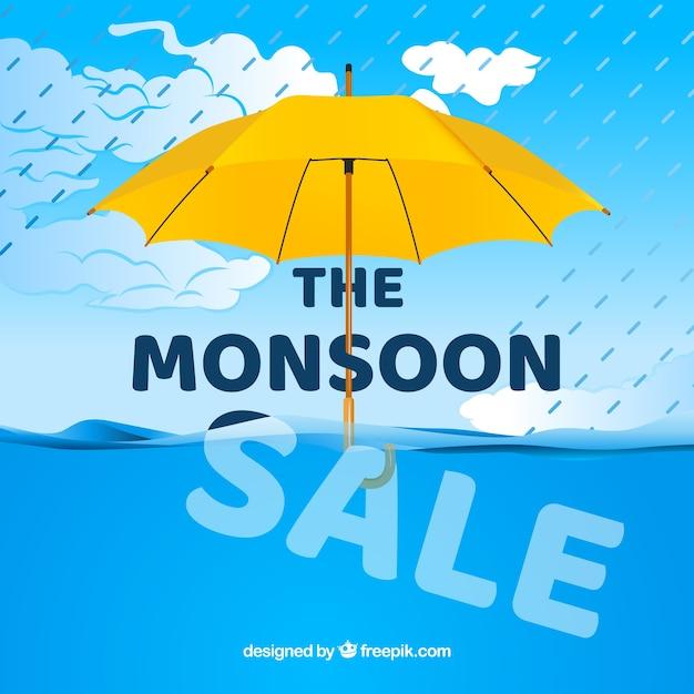 Venda de temporada de monções com guarda-chuva e mar Vetor grátis