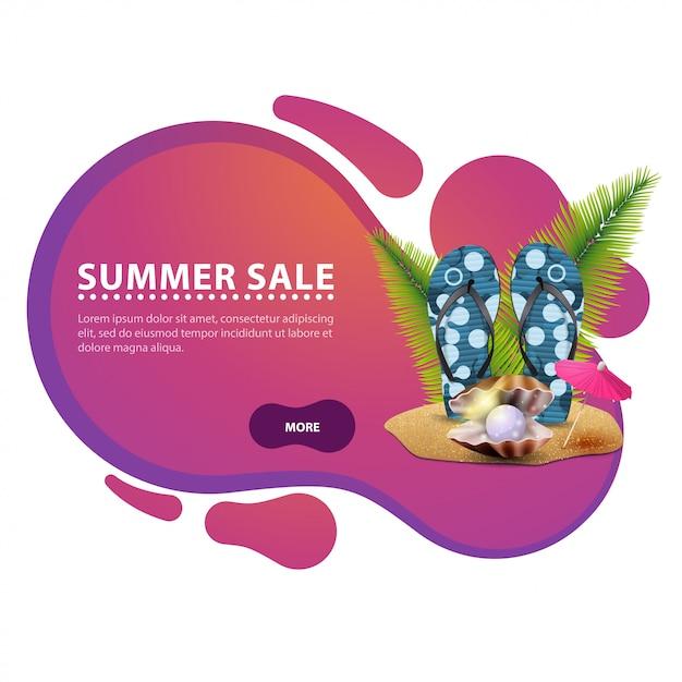 Venda de verão, banner de desconto moderno na forma de linhas suaves para o seu negócio Vetor Premium