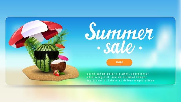 Venda de verão, banner de desconto para o seu site com bela paisagem Vetor Premium