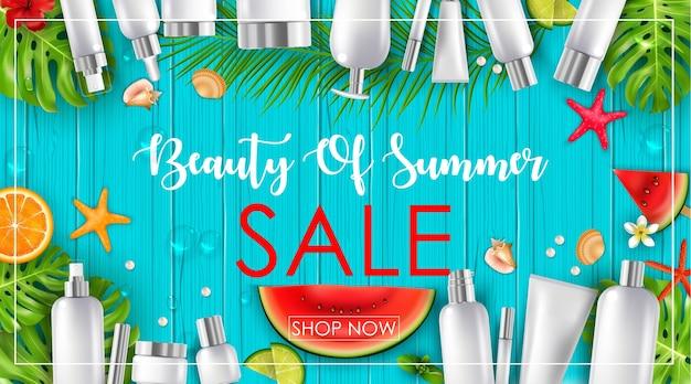 Venda de verão com fundo de beleza e cosméticos Vetor Premium