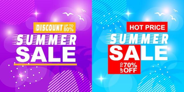 Venda de verão desconto preço quente off banner set Vetor Premium