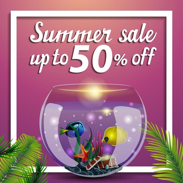 Venda de verão, desconto web banner quadrado com aquário redondo com peixe Vetor Premium