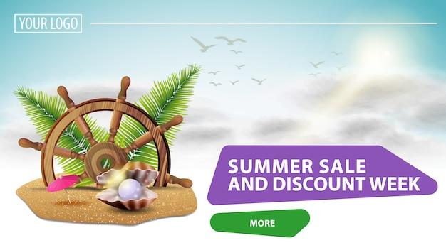 Venda de verão e página de desembarque semana de desconto Vetor Premium