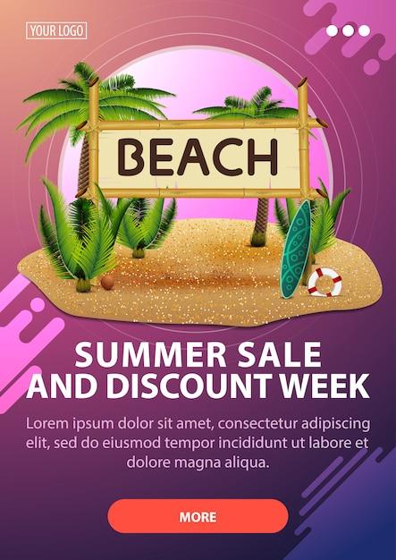 Venda de verão e semana de desconto, banner de desconto vertical com design moderno Vetor Premium