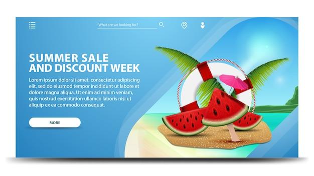 Venda de verão e semana de desconto, banner web horizontal criativo com belas paisagens Vetor Premium