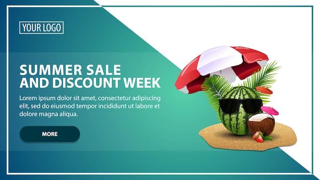 Venda de verão e semana de desconto, desconto modelo de banner da web para o seu site em um estilo moderno Vetor Premium