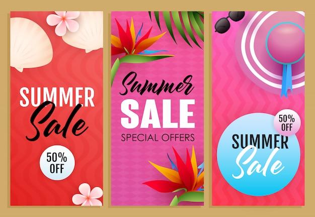 Venda de verão letterings set, plantas exóticas, chapéu de praia Vetor grátis