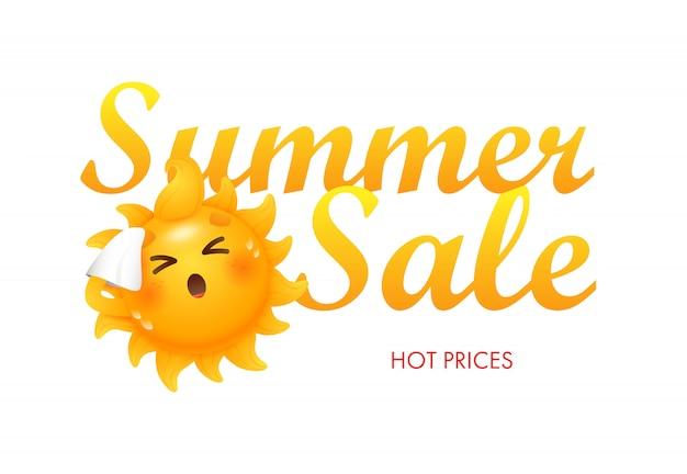 Venda de verão, preços quentes letras com personagem de desenho animado sol Vetor grátis