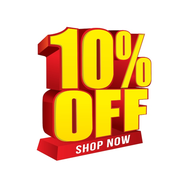 Venda e oferta especial de banner. 10% de desconto na loja agora Vetor Premium