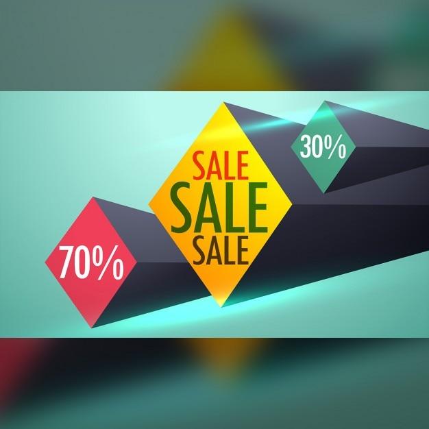 Venda e voucher de desconto de design com formas 3d Vetor grátis
