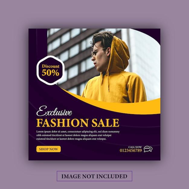 Venda exclusiva de moda em mídias sociais instagram post Vetor Premium