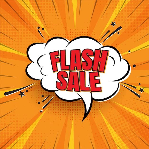 Venda flash no fundo estilo cômico Vetor Premium