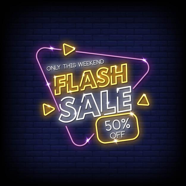 Venda flash sinais néon estilo texto vector Vetor Premium