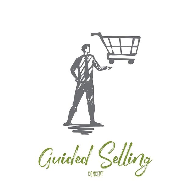 Venda guiada, loja, mercado, cesta, conceito de cliente. gerente desenhado de mão com carrinho por lado esboço do conceito. Vetor Premium