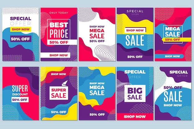 Venda oferece panfleto. anúncio publicitário modelo especial de marketing tags discound com abstrato móvel Vetor Premium