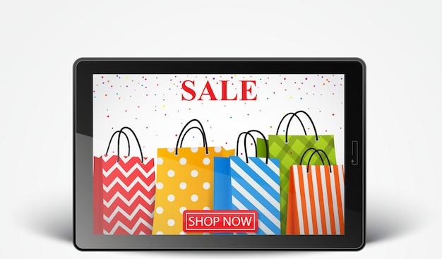 Venda on-line com smartphone e sacolas coloridas Vetor Premium