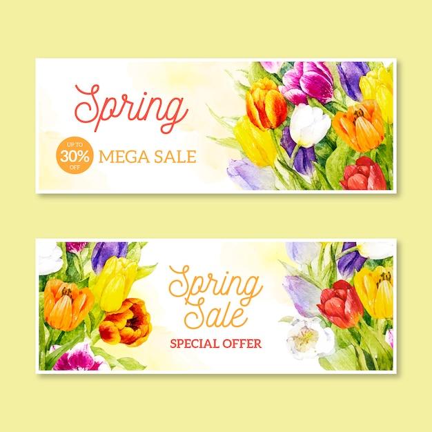 Venda promocional de primavera em aquarela Vetor grátis
