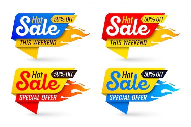 Venda quente preço oferta negócio etiquetas modelos adesivos Vetor Premium