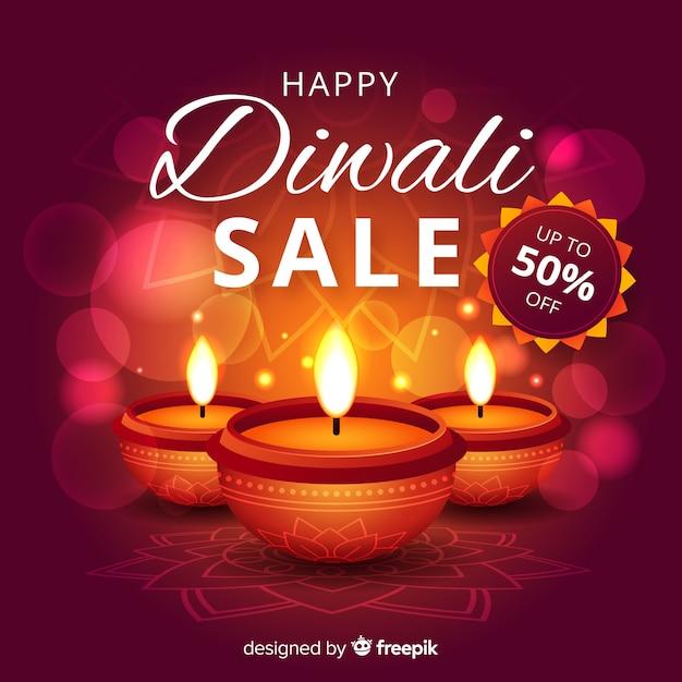 Venda realista de diwali com velas Vetor grátis