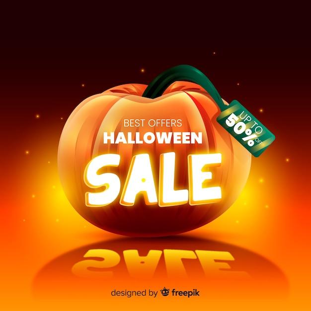 Venda realista de halloween Vetor grátis