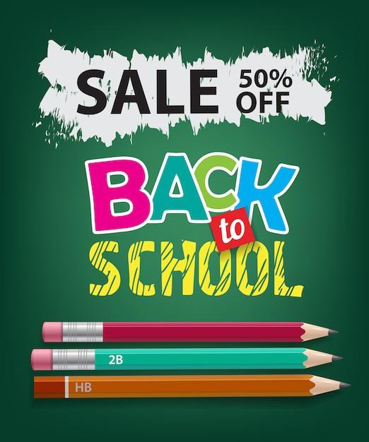 Venda, volta às aulas, cinquenta por cento de desconto em letras com lápis Vetor grátis