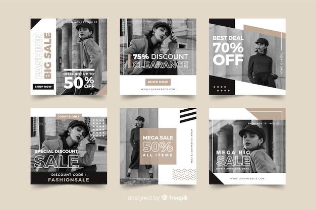 Vendas de moda mídias sociais banner collectio Vetor grátis