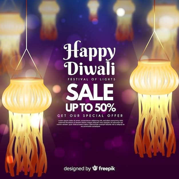 Vendas do festival de diwali com luzes Vetor grátis