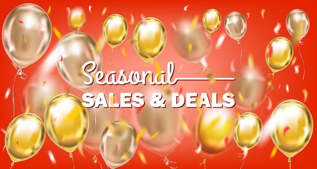 Vendas sazonais e ofertas de banner de ouro vermelho com balões metálicos Vetor Premium