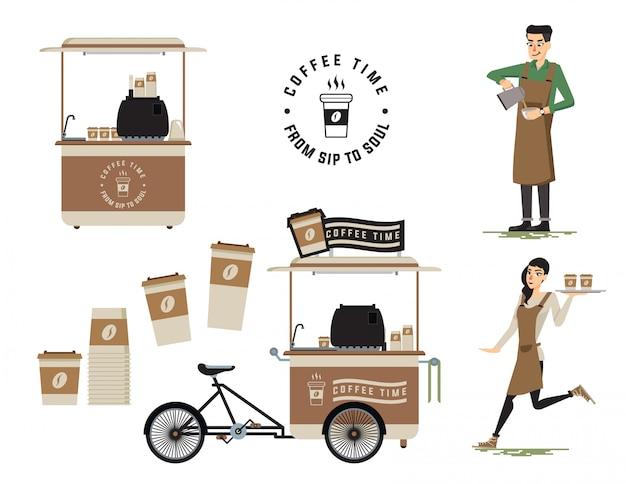 Vendedor de café Vetor Premium