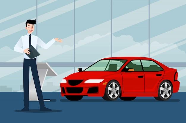 Vendedor de empresário está presente seu carro de luxo. Vetor Premium