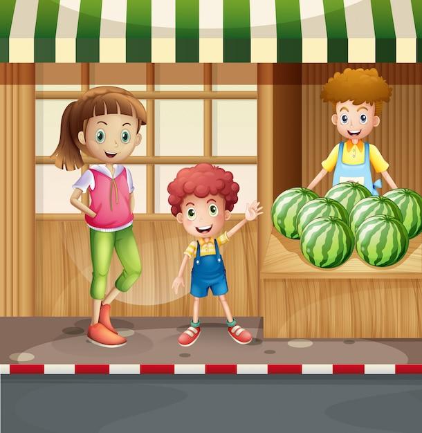 Vendedor de frutas e clientes Vetor grátis