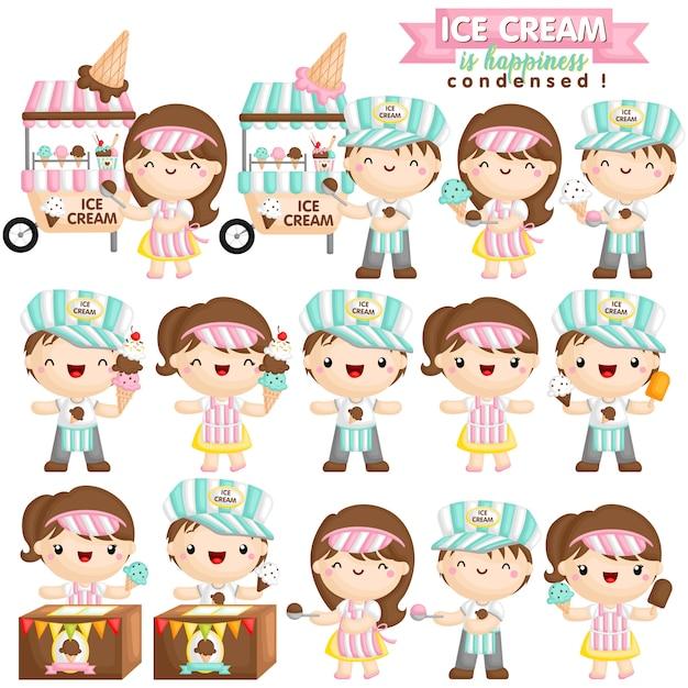 Vendedor de sorvetes Vetor Premium