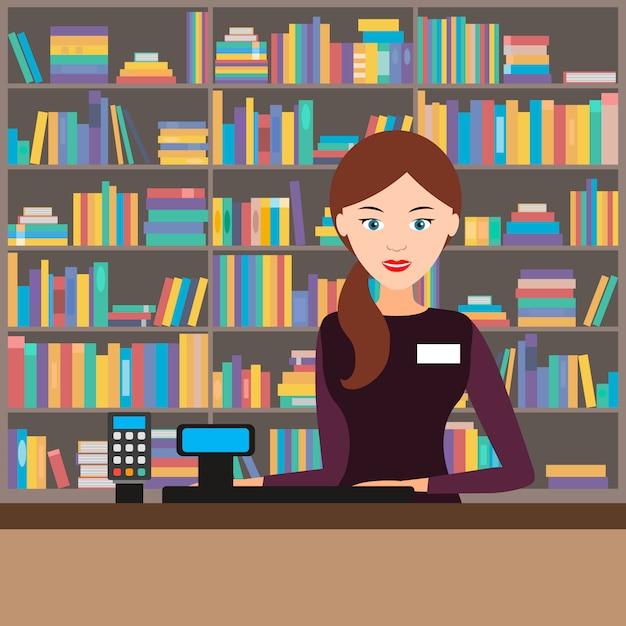 Vendedor feminino em uma livraria. ilustração vetorial Vetor Premium