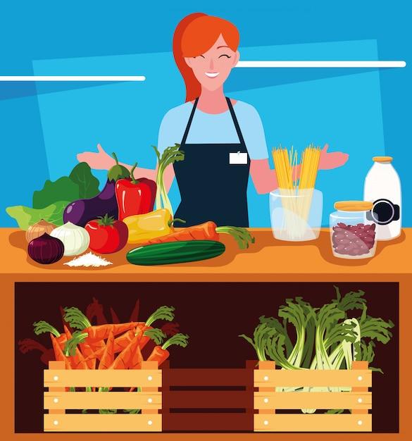Vendedora com vitrine de madeira loja e legumes Vetor Premium