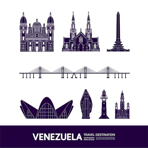 Venezuela viajar destino grande ilustração. Vetor Premium